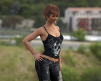 Tough Beautiful Happy Girl. A 3D image of a tough beautiful girl walking outside Royalty Free Stock Image