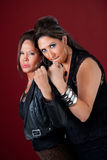 Tough and beautiful women. Two sexy middle-aged women with fists up Stock Photos