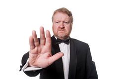Tough bouncer barring the way - on white Stock Photography