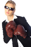 Tough business woman. Young, blond female dressed in a business suit with boxing gloves and sunglasses against a white backdrop Royalty Free Stock Photography