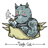 Tough Cat - hand drawn illustration. Vector background with hand drawn tough cat covered in tattoos Stock Photography