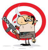 Tough cigar smoking mobster. Holding a submachine gun in front of a target vector illustration
