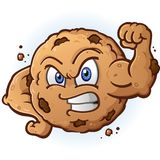 Tough Cookie Flexing Muscle Cartoon Character. A tough chocolate chip cookie cartoon character flexing his muscles and dropping crumbs Royalty Free Stock Images