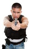 Tough Cop Pointing Gun Royalty Free Stock Photography