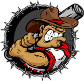 Tough Cowboy Baseball Player Holding Baseball Bat. Baseball Cartoon Cowboy with Barbed Wire Background Illustration Royalty Free Stock Photography