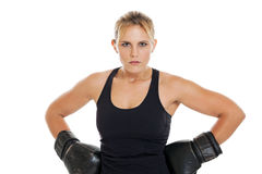 Tough female boxer portrait Royalty Free Stock Photography