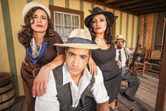Tough Gangster with Pretty Women Stock Photo