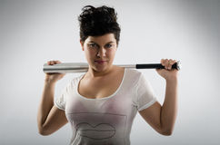 Tough girl with baseball bat Royalty Free Stock Image
