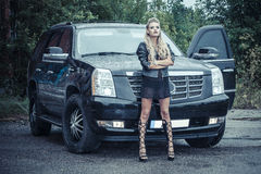 Tough Girl in Leather Jack Royalty Free Stock Image