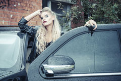 Tough Girl in Leather Jack Stock Photos