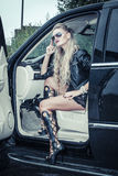 Tough Girl in Leather Jack Stock Images