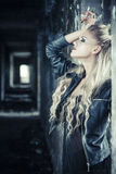 Tough Girl in Leather Jack Smoking Royalty Free Stock Photos