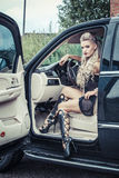 Tough Girl in Off-road Car Royalty Free Stock Photo