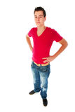 Tough guy. Sturdy tough guy in wide angle studio portrait Royalty Free Stock Photography