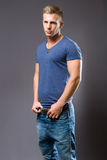 Tough guy. Tough guy, portrait of muscular fit young man Royalty Free Stock Images