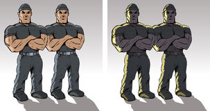 Tough Guy. Two drawings of a doorman or debt collectors Royalty Free Stock Photo