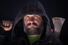 Tough guy with axe Royalty Free Stock Photos
