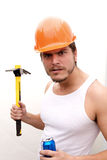 Tough Guy in a hard hat Royalty Free Stock Photo