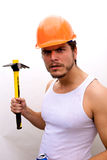 Tough Guy in a hard hat Stock Images