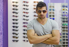 Tough guy with sunglasses Stock Photo