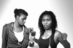 Tough gym women. Working out with steel weights, a horizontal monochrome portrait Stock Photography