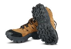 Tough hiking shoes isolated on white Royalty Free Stock Photography