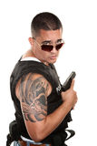 Tough Hispanic Cop Stock Image