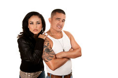Tough Hispanic Couple Stock Photography