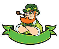 Tough leprechaun over a banner Stock Photo
