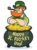 Tough leprechaun in pot of gold. A tough looking cartoon leprechaun in a pot of gold coins Royalty Free Stock Image
