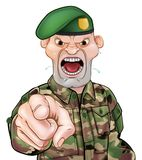Pointing Soldier Cartoon. A tough looking pointing soldier cartoon character wearing a green beret Stock Photo