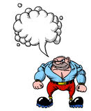 Tough man 100. Cartoon image of tough man. An artistic freehand picture. With speech bubble Stock Photography