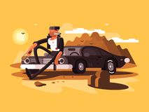 Tough man near car. With bottle and gun in desert. Vector illustration Royalty Free Stock Photos