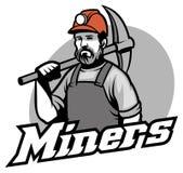 Tough miner hold the pickaxe. Vector of tough miner hold the pickaxe Stock Images