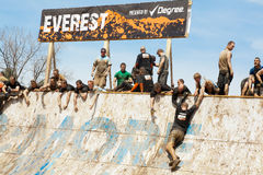 Tough Mudder: Attempting the Everest Obsticle Stock Photo