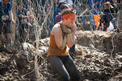 Tough Mudder: Female Racer in the Electric Obsticle. Female Racer moving through the Electric Obstacle at the Tough Mudder competition in Mansfield Ohio on April royalty free stock photography