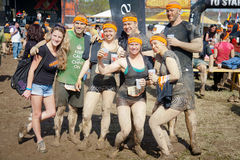 Tough Mudder: Group of Happy Race Finishers Royalty Free Stock Photography