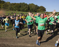 Tough mudder 2015 London South. HAMPSHIRE, UK - SEPTEMBER 26, 2015: Tough Mudder is a team-oriented 18-20 km obstacle course testing strength and mental grit. It stock image
