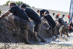 Tough mudder 2015 London South. HAMPSHIRE, UK - SEPTEMBER 26, 2015: Tough Mudder is a team-oriented 10-12 mile (18-20 km) obstacle course designed to test stock photography