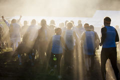 Tough mudder 2015 London South UK. HAMPSHIRE, UK - SEPTEMBER 26, 2015: Tough Mudder is a team-oriented 18-20 km obstacle course testing strength and mental grit royalty free stock photos