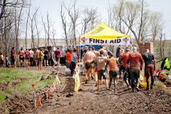 Tough Mudder: Racers at the First Aid Station Stock Photography