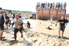 Tough Mudder: Racers at the Walk the Plank Stock Image
