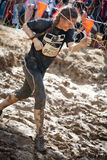 Tough Mudder: Young Female Racer Running through the Electric Obsticle Royalty Free Stock Photography