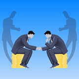 Tough negotations business concept. Tough negotiations business concept. Confident businessmen sitting on stacks of gold coins and shaking each other hands, but Stock Images