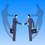 Tough negotations business concept. Tough negotiations business concept. Confident businessmen standing opposite each other and shaking each other hands, but Stock Photography
