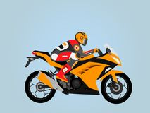 Tough orange Sportbike flat style. Rider in sport equipment on an awesome sportbike. Easy color change Royalty Free Stock Photos