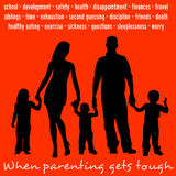 Tough parenting. All kind of situations and problems that could make parenthood tough Stock Image