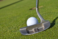 Tough Putt. Golf ball and putter on green Royalty Free Stock Photography