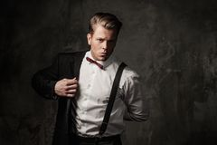 Tough sharp dressed man. In black suit Stock Image