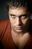 Tough spooky man with deep evil eyes Royalty Free Stock Photography